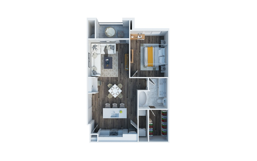 A1 - 1 bedroom floorplan layout with 1 bath and 751 square feet.