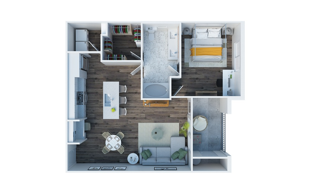 A2 - 1 bedroom floorplan layout with 1 bath and 776 square feet.