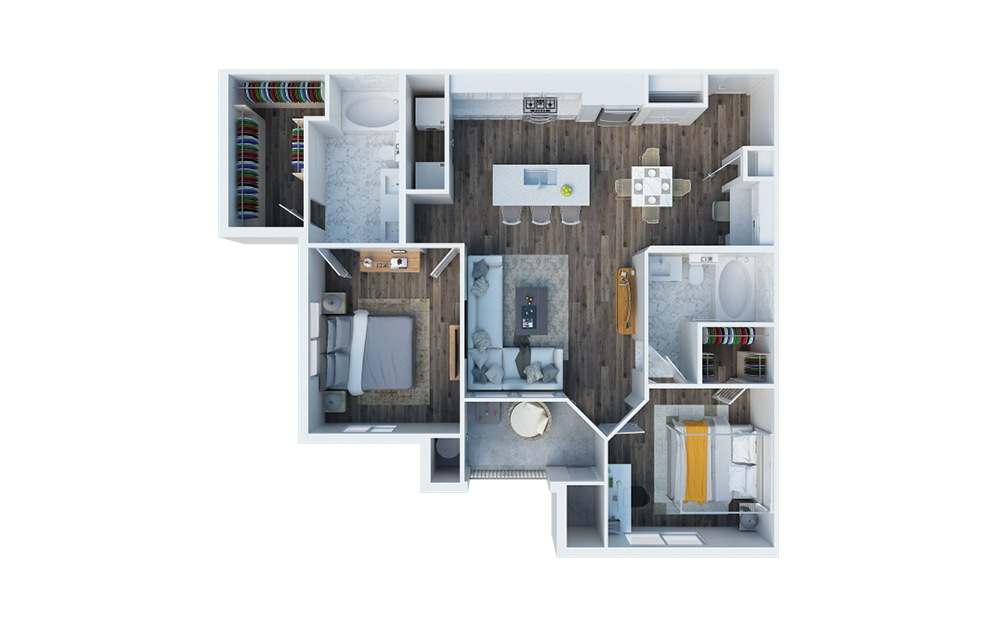 B2 - 2 bedroom floorplan layout with 2 baths and 1052 square feet.